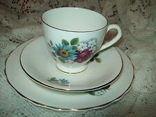 Elizabethan China Cup & Saucer and Dessert Plate Red Rose and Blue Daisy