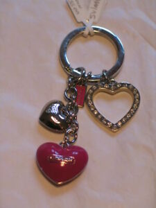 New with Box Pink Triple Heart keyring / keychain to match bag