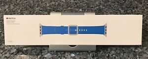 New SEALED Authentic Apple Watch Band 42mm Electric Blue Leather Classic Buckle