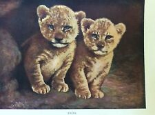 m17a1 ephemera 1920s book plate twins lion cubs