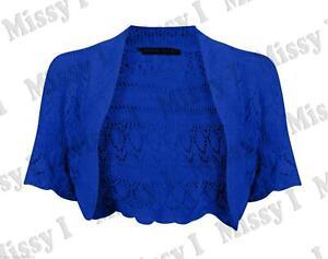 Womens Short Sleeve Knitted Crochet Bolero Cropped Shrug Top Cardigan 8-14