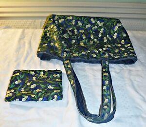 COOL FINN BLUE DENIM EMBROIDERED FLORAL  MATCHING MAKE UP BAG OR PURSE HAND BAG