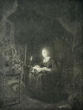 """GERARD DOU - """"Spitzenklöpplerin"""" - Kupferstich um 1750"""