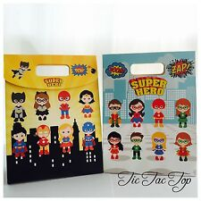 6 X SUPERHERO PAPER LOOT LOLLY GIFT BAG. PARTY SUPPLIES BATMAN AVENGERS BOX