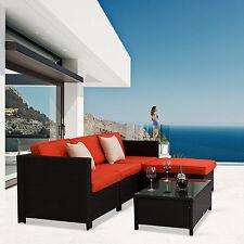 5PC Patio Sofa Set Rattan Wicker Outdoor Sectional Furniture w/Orange Cushions
