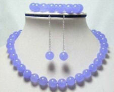 10mm Natural Lavender Jade Round Beads Necklace Bracelet Earrings AAA