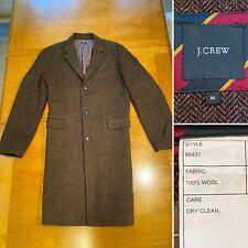 J CREW Westbourne Men's Size XL 100% Wool Brown Herringbone Long Coat Overcoat