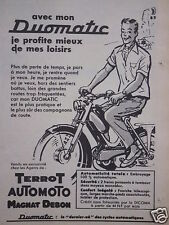 PUBLICITÉ 1960 MON CYCLOS DUOMATIC TERROT AUTOMOTO MAGNAT DEBON - ADVERTISING