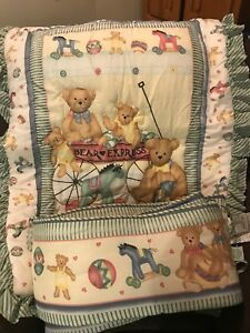 2 Piece Lambs And Ivy Baby Crib Set Bumper And Blanket Nursery Bears Hearts 1994