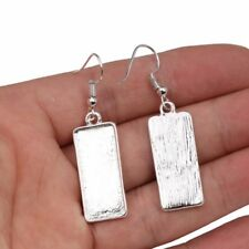 10mm x 25mm Silver Blank Cabochon Earring Settings Findings Hooks Bezel Craft