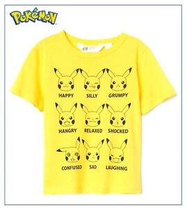 Kids Boys Pokemon Pikachu Yellow T-Shirt Comic Gamer Character Faces Top 3-6 Yrs