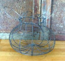 Primitive Round PUMPKIN Shape Wire Woven Wire Chicken Egg Gathering Basket Metal