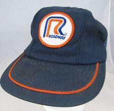Vintage 1980s Roadway Trucking Snapback Mesh Trucker Hat Patch Blue Mesh Cap