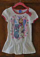 Girls Frozen Shirt Size 6 by Disney with Pink Trim and Bow Anna & Elsa