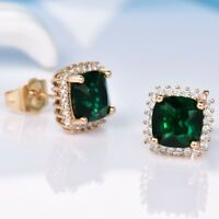 New Charms Lady Princess Green Emerald Crystal Yellow Gold Filled Stud Earrings