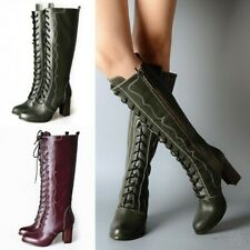 New Leisure Ladies Women Knee High Riding Boots Leather Gladiator Runway T Show