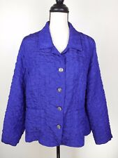 Laura Ashley Woman Jacket Coat Purple Size Large Metal Button Front Lightweight