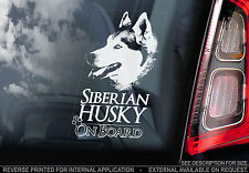 Husky - Car Window Sticker - Siberian Dog on Board Sign Art Decal Gift - V01