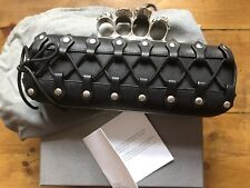 Alexander Mcqueen Leather Laced Knuckleduster Rings Clutch