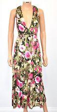 LEONA EDMISTON Frocks 1 Green Pink Floral Plunge Neck Stretchy Long Dress - Sm