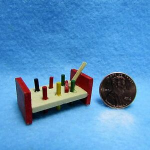 Dollhouse Miniature Childs Wood Pounding Toy with Hammer  IM65365