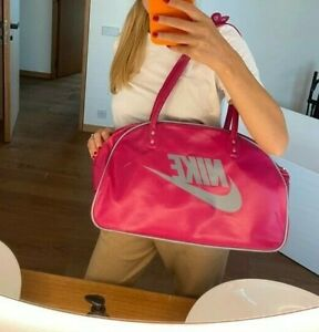Nike Womens Pink Vinyl Bowling Style Shoulder Bag Logo Tote Vintage Retro 90s