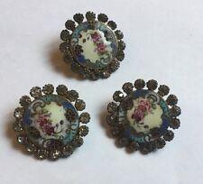 Buttons X 3 Floral Antique Vintage Enamel Paste
