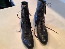Antique Victorian Black Leather High Top Laceup Boots Maker's Tag Red Cross Shoe