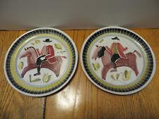 Pair Nora Gulbrandsen Mid Century Folk Art Plates Man Horse Signed 1951 Norway