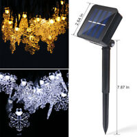 Outdoor 30 LED Solar Powered String Lights Snowflake Garden Party Landscape Lamp