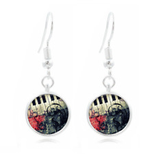 Piano glass Frea Earrings Art Photo Tibet silver Earring Jewelry #433