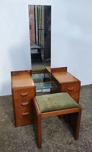 Art Deco Light Oak Dressing Table By E Gomme {G plan} + Original Stool
