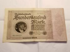 1923 Germany Reichsbanknote 100000 Mark German Currency Note Berlin