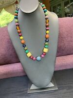 """Bohemian Multi  Color Art Glass Wood Beaded Sweater Length Necklace 22"""""""