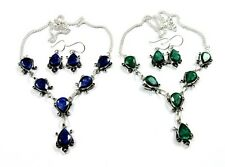 2 Pcs Necklace Earring Set Natural Blue Sapphire,Green Emerald Silver Plated
