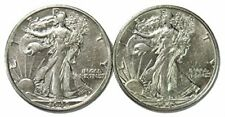 1942-S & 1943 S Walking Liberty Half Dollar Set About Uncirculated