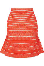 NWT Herve Leger Telma Multi Chevron Textured Tipping Skirt - Size M - Ret. $990
