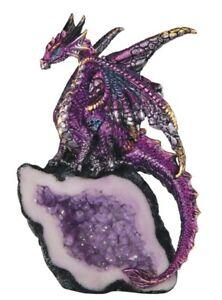 "PURPLE CRYSTAL DRAGON       Purple Dragon on Crystal Geode    Statue   H5.5"""