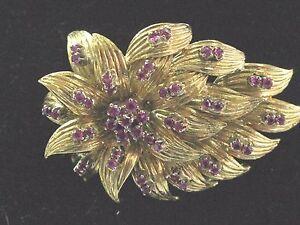 "18t Gem Ruby Yellow Gold Pin / Brooch 1.00ct 1.75"""