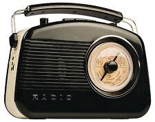 KONIG 50/60's Nero AM/FM Bluetooth Wireless Retrò Radio Portatile Tavolo-Nuovo
