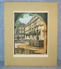 Original HAND COLORED ETCHING Spitting Boy Fountain Koblenz Germany Rudolf Veit