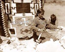 NAVAJO NATIVE AMERICAN INDIAN WEAVER RUG LOOM PHOTO #3