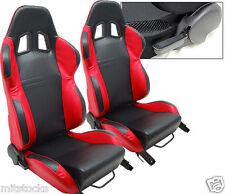 2 BLACK & RED LEATHER RACING SEATS RECLINABLE + SLIDERS VOLKSWAGEN NEW *