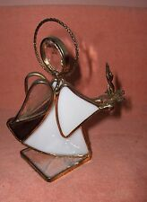 Art Glass Crystal Stained Glass Angel Purple & White Candle Signed Terry '90