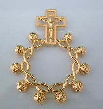 Gold Rosary Prayer Beads, Decade Pocket Ring Cross - Confirmation Baptism Gifts
