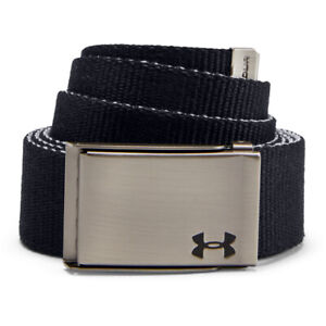 NEW Under Armour Men's Reversible Webbing Belt - Black/Grey - One size fits all