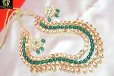 Indian Green Pearl Long Necklace Earring Set Bollywood Bridal Fashion Jewelry