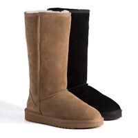 AUS WOOLI Australia Water-Resistant Genuine AU Sheepskin Tall Zip-Up Wool Boots