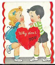 Vintage 1943 Wwii Super Cute Little Girl & Boy Window Opens Valentine Card