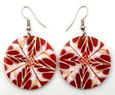 Natural Cone Shell Dangle Drop Hook Red Earrings Handmade Women Jewelry EA059